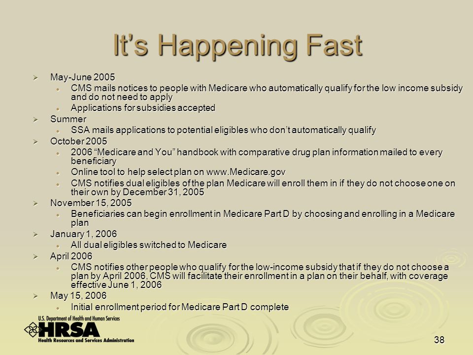 38 It's Happening Fast  May-June 2005 CMS mails notices to people with Medicare who automatically qualify for the low income subsidy and do not need to apply CMS mails notices to people with Medicare who automatically qualify for the low income subsidy and do not need to apply Applications for subsidies accepted Applications for subsidies accepted  Summer SSA mails applications to potential eligibles who don't automatically qualify SSA mails applications to potential eligibles who don't automatically qualify  October 2005 2006 Medicare and You handbook with comparative drug plan information mailed to every beneficiary 2006 Medicare and You handbook with comparative drug plan information mailed to every beneficiary Online tool to help select plan on www.Medicare.gov Online tool to help select plan on www.Medicare.gov CMS notifies dual eligibles of the plan Medicare will enroll them in if they do not choose one on their own by December 31, 2005 CMS notifies dual eligibles of the plan Medicare will enroll them in if they do not choose one on their own by December 31, 2005  November 15, 2005 Beneficiaries can begin enrollment in Medicare Part D by choosing and enrolling in a Medicare plan Beneficiaries can begin enrollment in Medicare Part D by choosing and enrolling in a Medicare plan  January 1, 2006 All dual eligibles switched to Medicare All dual eligibles switched to Medicare  April 2006 CMS notifies other people who qualify for the low-income subsidy that if they do not choose a plan by April 2006, CMS will facilitate their enrollment in a plan on their behalf, with coverage effective June 1, 2006 CMS notifies other people who qualify for the low-income subsidy that if they do not choose a plan by April 2006, CMS will facilitate their enrollment in a plan on their behalf, with coverage effective June 1, 2006  May 15, 2006 Initial enrollment period for Medicare Part D complete Initial enrollment period for Medicare Part D complete