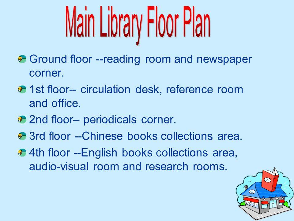 Ground floor --reading room and newspaper corner. 1st floor-- circulation desk, reference room and office. 2nd floor– periodicals corner. 3rd floor --