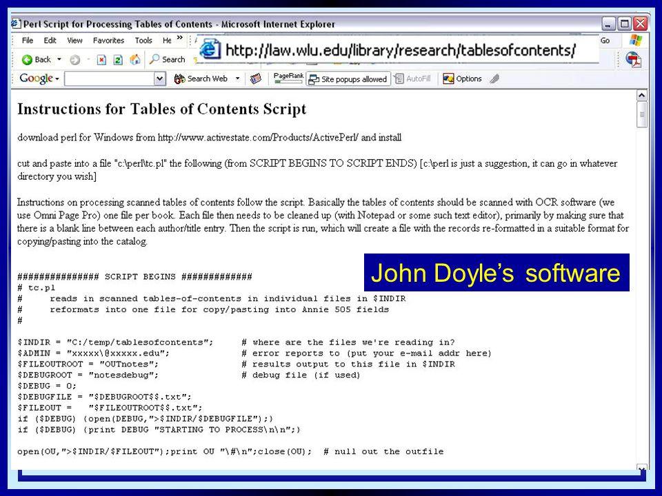 John Doyle's software