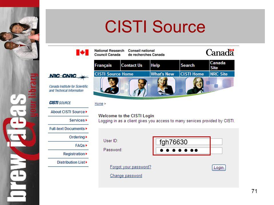 71 CISTI Source fgh76630 ● ● ● ● ● ●●
