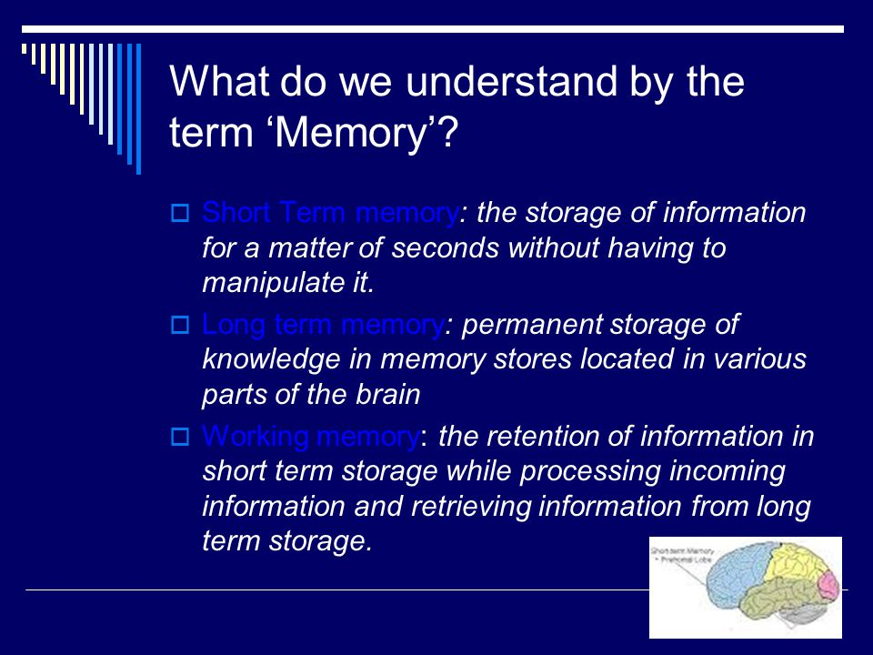 What do we understand by the term 'Memory'.