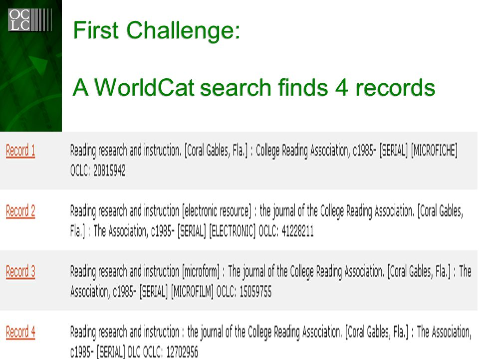 First Challenge: A WorldCat search finds 4 records