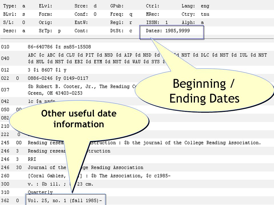 Beginning / Ending Dates Other useful date information