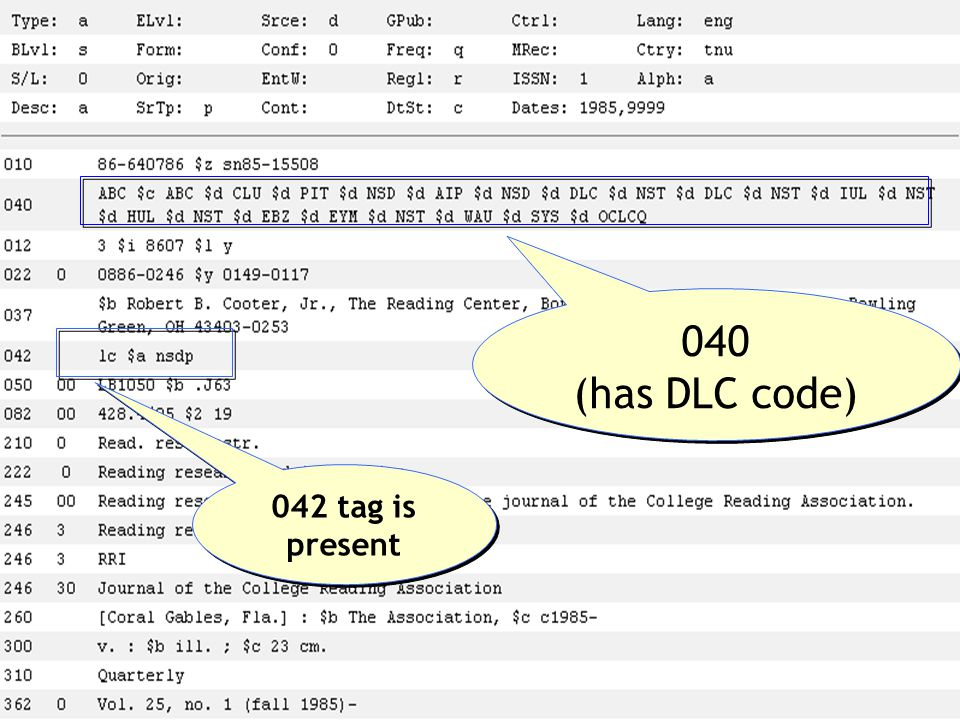 040 (has DLC code) 042 tag is present