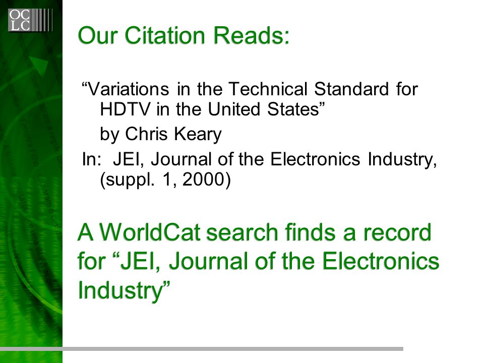 Our Citation Reads: Variations in the Technical Standard for HDTV in the United States by Chris Keary In: JEI, Journal of the Electronics Industry, (suppl.