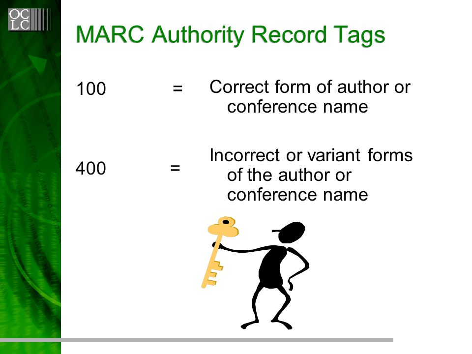 MARC Authority Record Tags 100 = 400= Correct form of author or conference name Incorrect or variant forms of the author or conference name