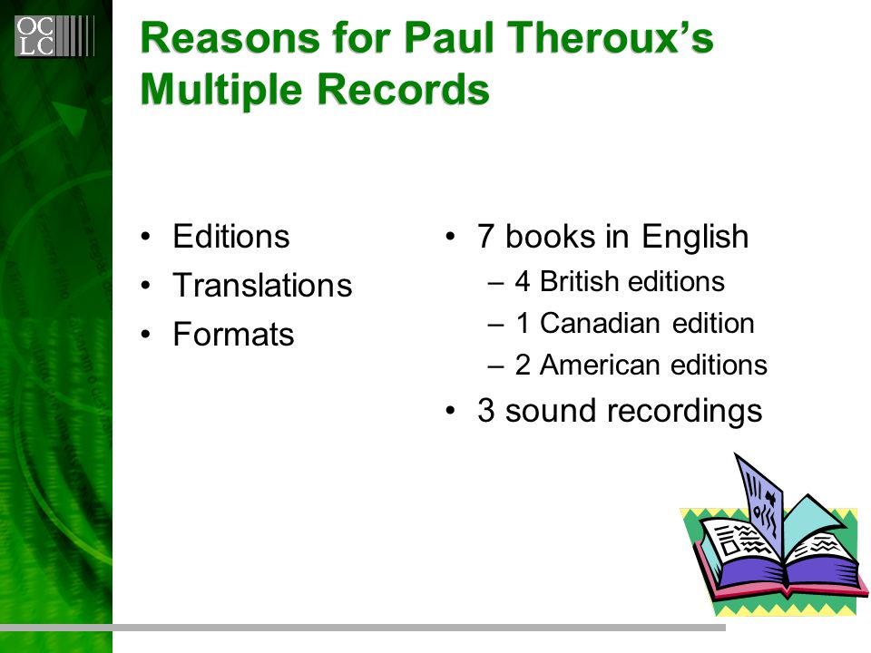 Reasons for Paul Theroux's Multiple Records Editions Translations Formats 7 books in English –4 British editions –1 Canadian edition –2 American editions 3 sound recordings