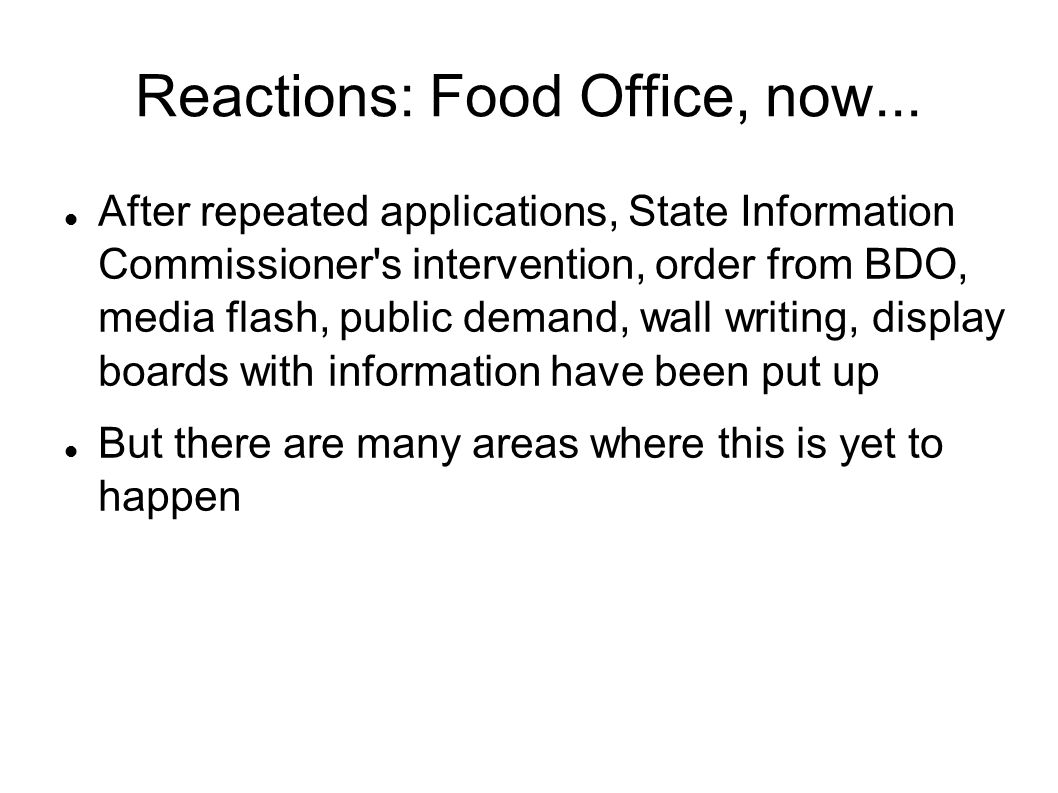 Reactions: Food Office, now...
