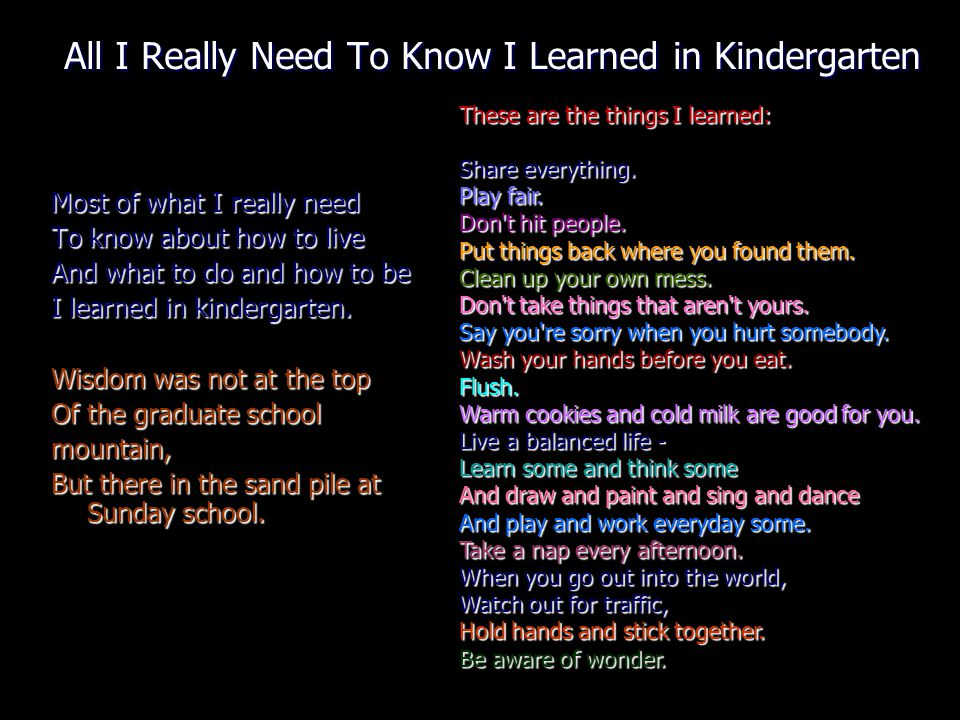 All I Really Need To Know I Learned in Kindergarten Most of what I really need To know about how to live And what to do and how to be I learned in kindergarten.