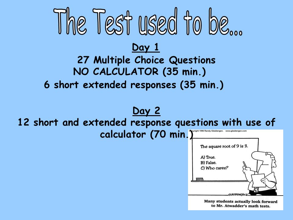 Day 1 27 Multiple Choice Questions NO CALCULATOR (35 min.) 6 short extended responses (35 min.) Day 2 12 short and extended response questions with us
