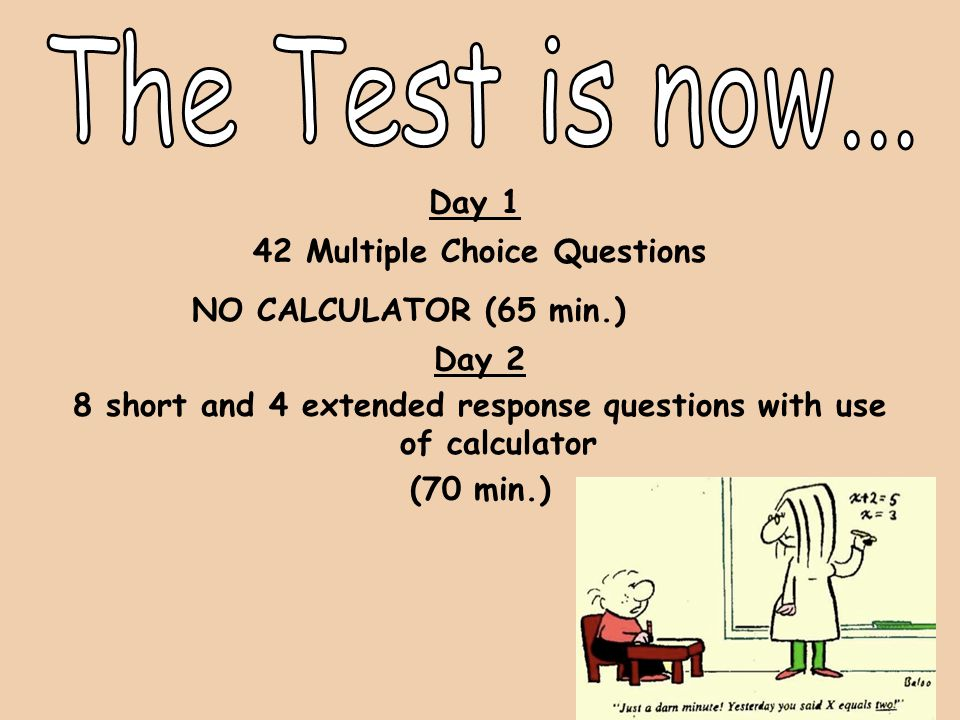 Day 1 42 Multiple Choice Questions NO CALCULATOR (65 min.) Day 2 8 short and 4 extended response questions with use of calculator (70 min.)