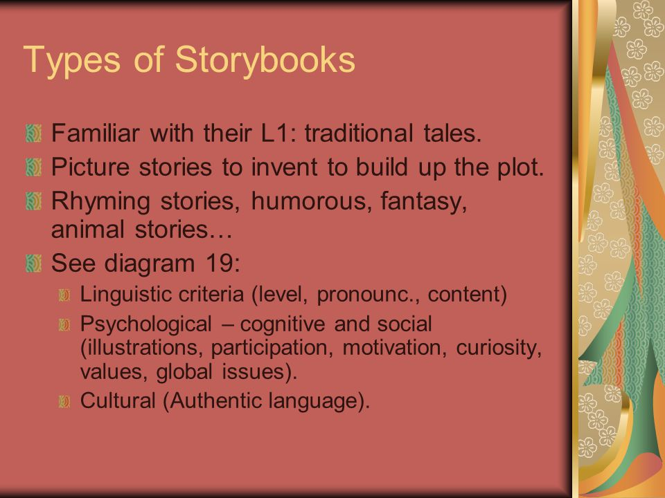 Types of Storybooks Familiar with their L1: traditional tales. Picture stories to invent to build up the plot. Rhyming stories, humorous, fantasy, ani