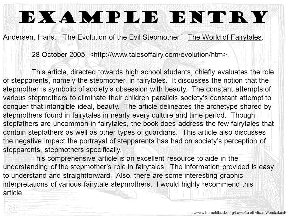 Example entry http://www.fromoldbooks.org/LewisCaroll-AliceInWonderland/ Andersen, Hans.