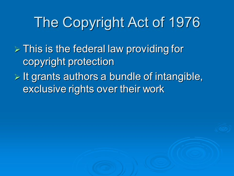 Limitations on Copyright  We've seen that the purpose of copyright is to encourage intellectual and artistic creation  Paradoxically, giving authors too much copyright protection could inhibit rather than enhance creative growth  To avoid this, some important limitations on copyright protection have been developed