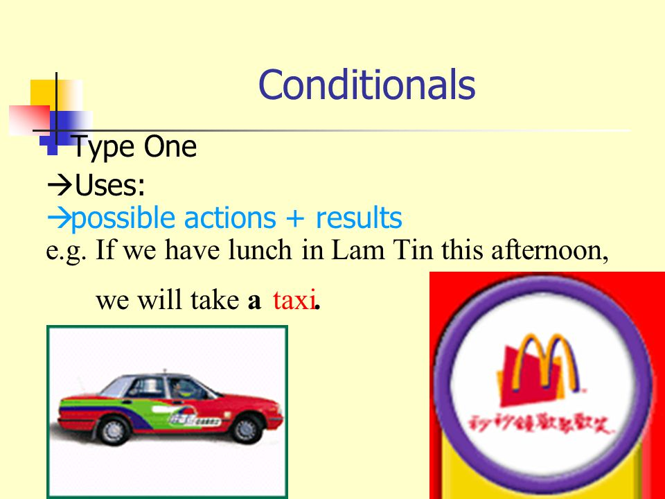 Conditionals Type One  Uses:  possible actions + results e.g.