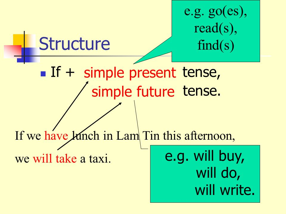 Structure If + tense, tense.