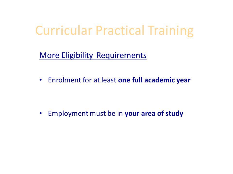 Curricular Practical Training What at Vassar Qualifies as CPT.
