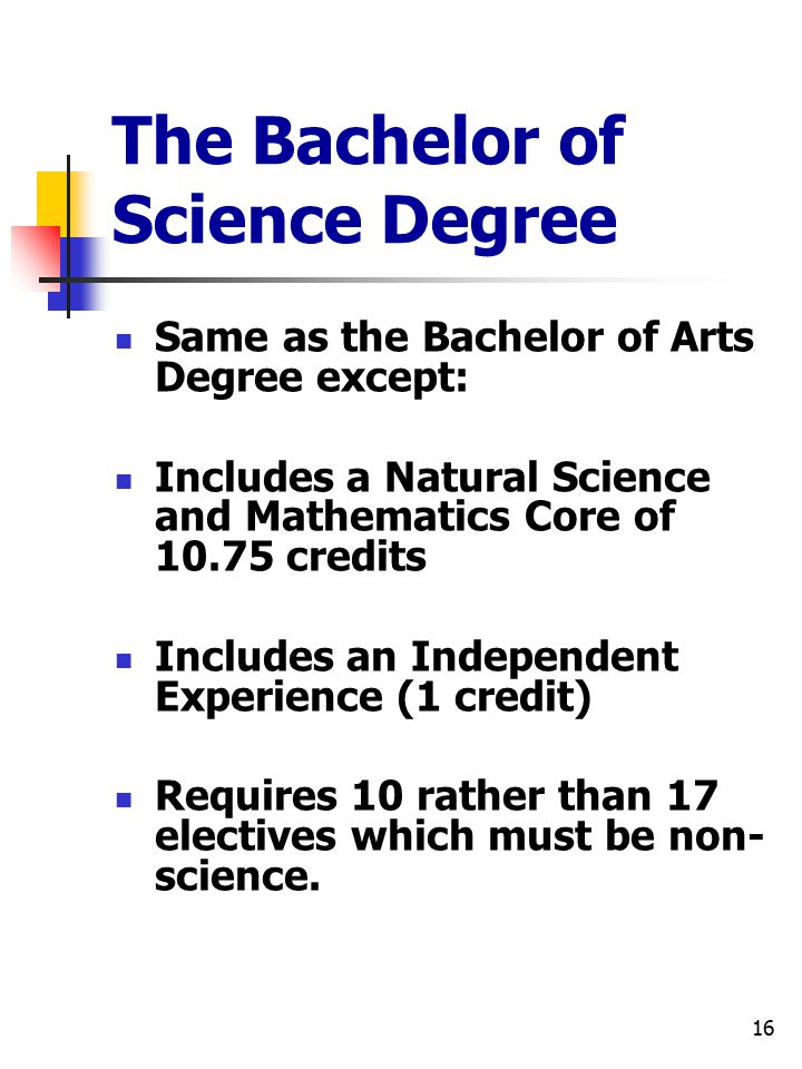 16 The Bachelor of Science Degree Same as the Bachelor of Arts Degree except: Includes a Natural Science and Mathematics Core of 10.75 credits Include