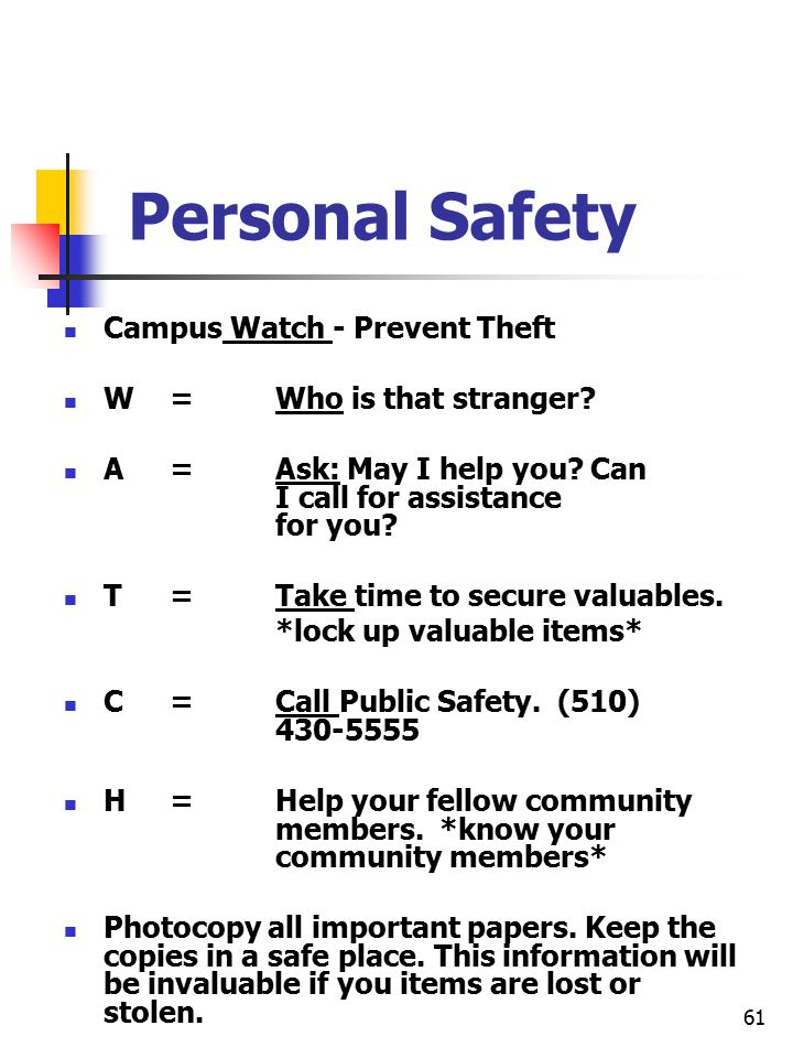 61 Personal Safety Campus Watch - Prevent Theft W= Who is that stranger.
