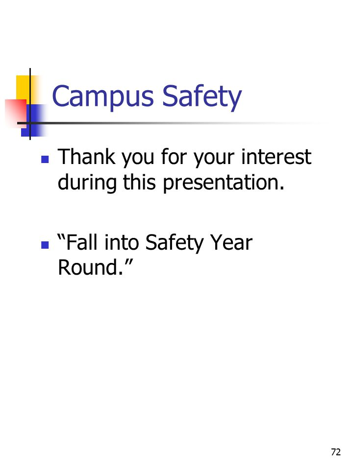 72 Campus Safety Thank you for your interest during this presentation.