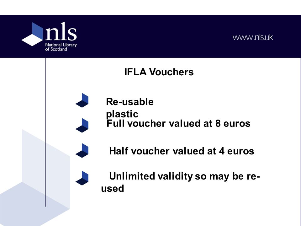 Number of vouchers required Your invoice address and delivery address for vouchers Minimum order is 100 euros Contact Susan Schaepman at the IFLA office Susan.schaepman@ifla.org Obtaining Vouchers