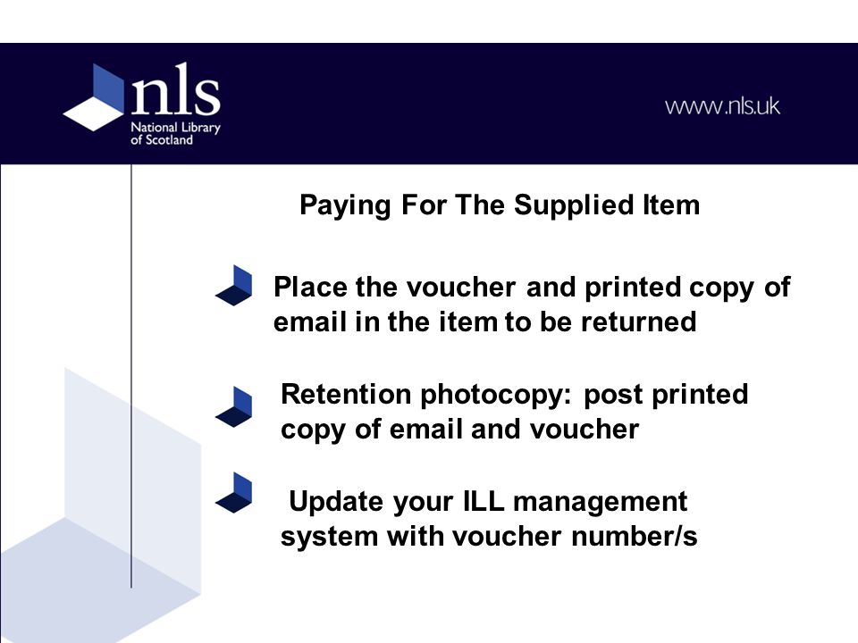 Retention photocopy: post printed copy of email and voucher Update your ILL management system with voucher number/s Place the voucher and printed copy of email in the item to be returned Paying For The Supplied Item