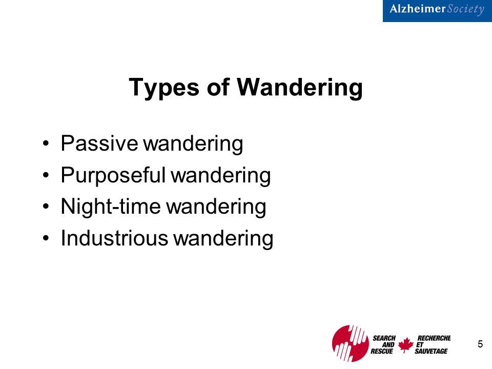 5 Types of Wandering Passive wandering Purposeful wandering Night-time wandering Industrious wandering