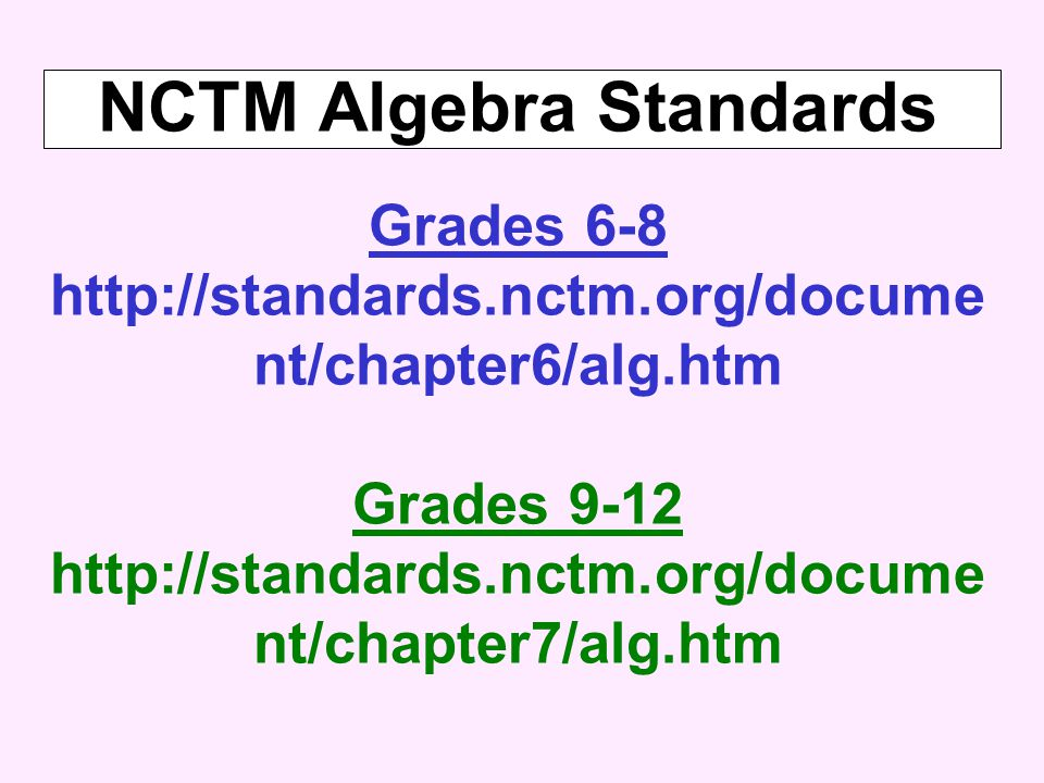 NCTM Algebra Standards Grades 6-8 http://standards.nctm.org/docume nt/chapter6/alg.htm Grades 9-12 http://standards.nctm.org/docume nt/chapter7/alg.htm