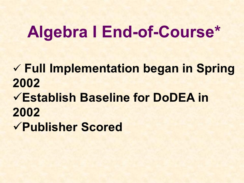 Algebra I End-of-Course* Full Implementation began in Spring 2002 Establish Baseline for DoDEA in 2002 Publisher Scored