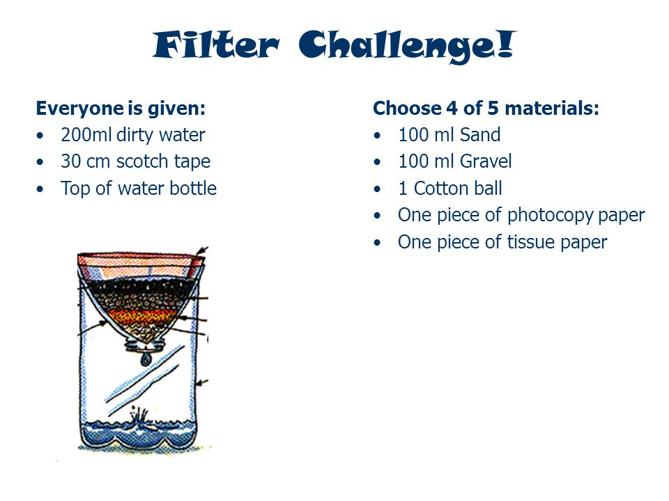 Filter Challenge! Everyone is given: 200ml dirty water 30 cm scotch tape Top of water bottle Choose 4 of 5 materials: 100 ml Sand 100 ml Gravel 1 Cott