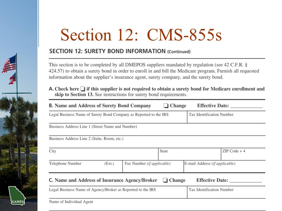 Section 12: CMS-855s