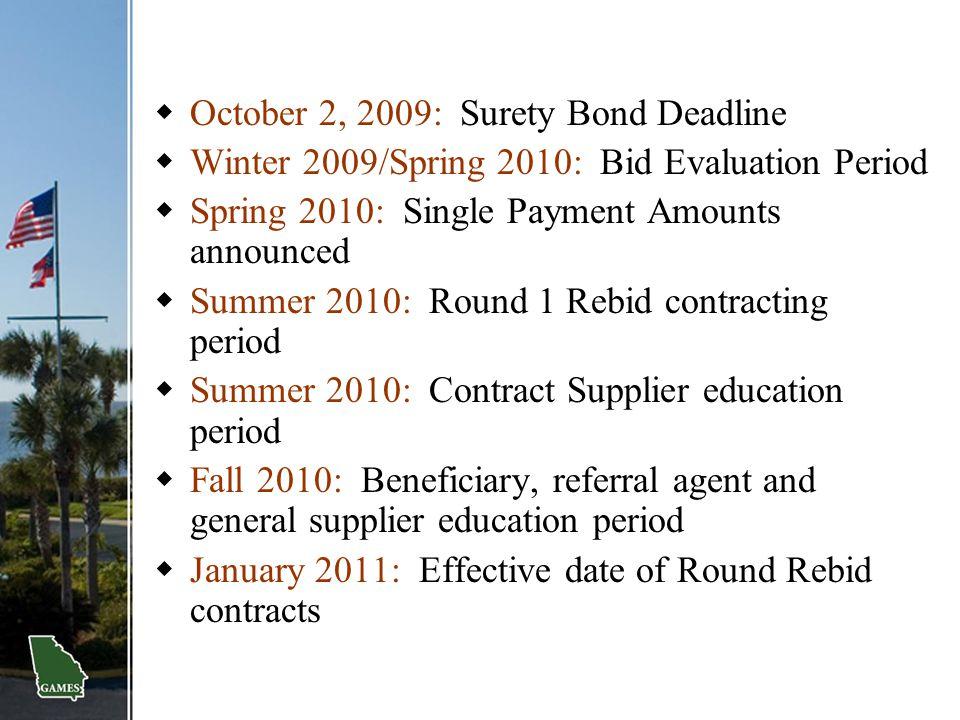  October 2, 2009: Surety Bond Deadline  Winter 2009/Spring 2010: Bid Evaluation Period  Spring 2010: Single Payment Amounts announced  Summer 2010