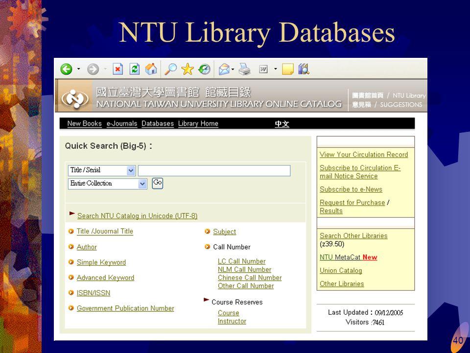 40 NTU Library Databases