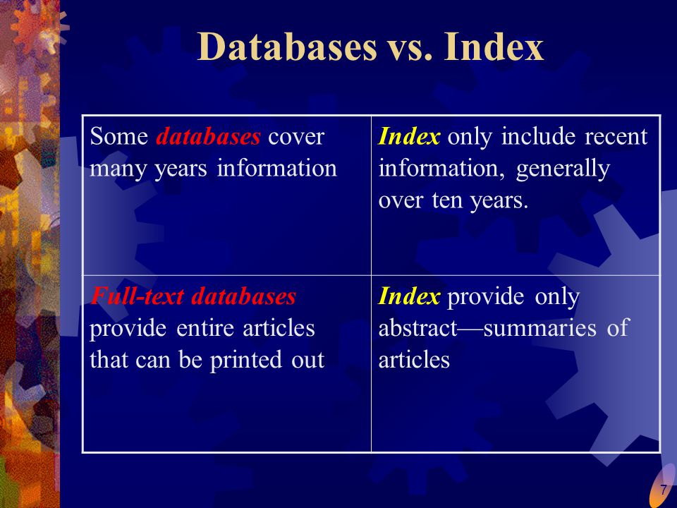 7 Databases vs.
