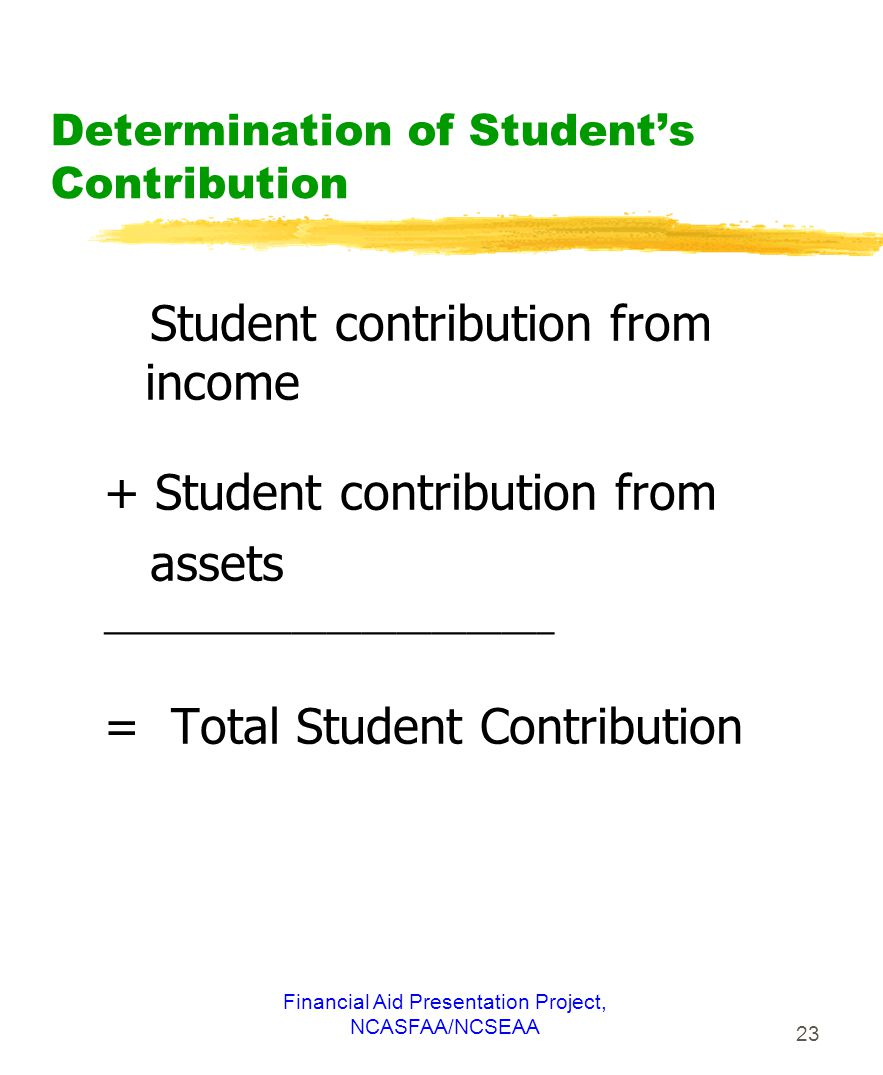 Financial Aid Presentation Project, NCASFAA/NCSEAA 23 Determination of Student's Contribution Student contribution from income + Student contribution from assets __________________________ = Total Student Contribution
