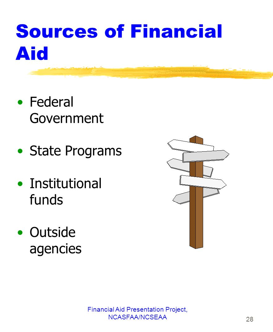 Financial Aid Presentation Project, NCASFAA/NCSEAA 28 Sources of Financial Aid Federal Government State Programs Institutional funds Outside agencies