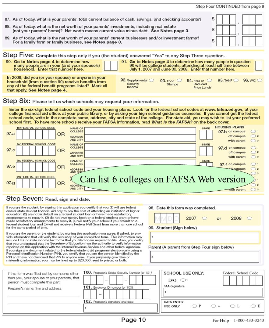 42 Can list 6 colleges on FAFSA Web version
