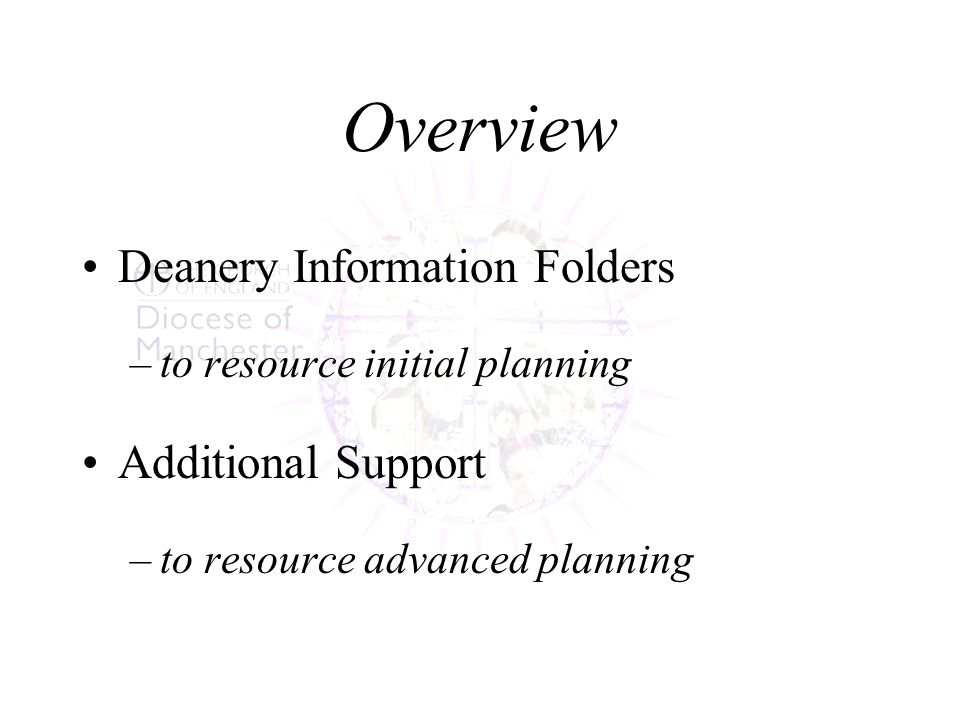 Overview Deanery Information Folders –to resource initial planning Additional Support –to resource advanced planning