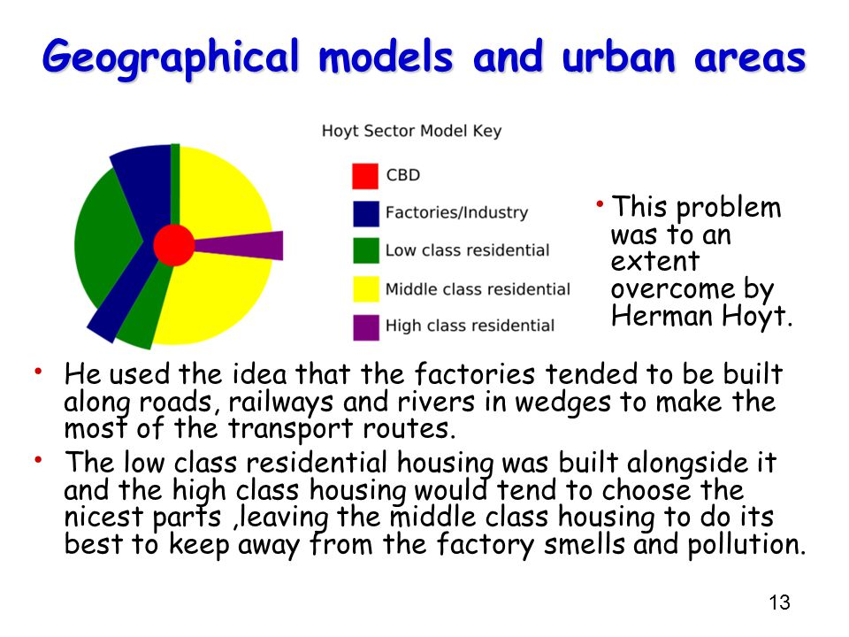 13 Geographical models and urban areas This problem was to an extent overcome by Herman Hoyt.