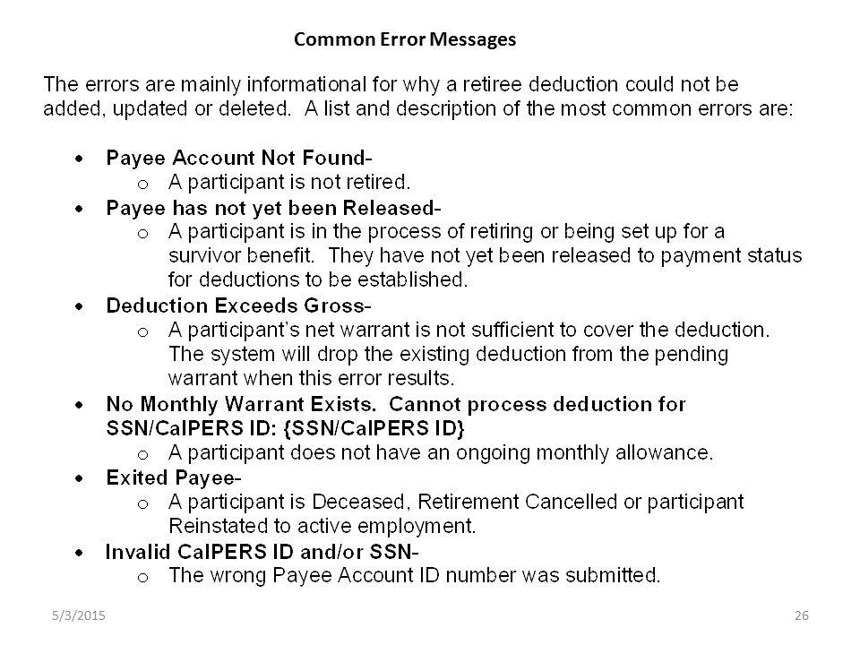 26 Common Error Messages 5/3/2015