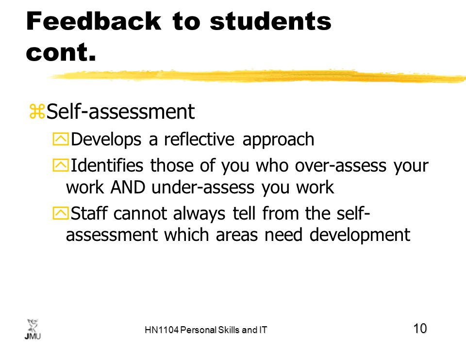 HN1104 Personal Skills and IT 10 Feedback to students cont.
