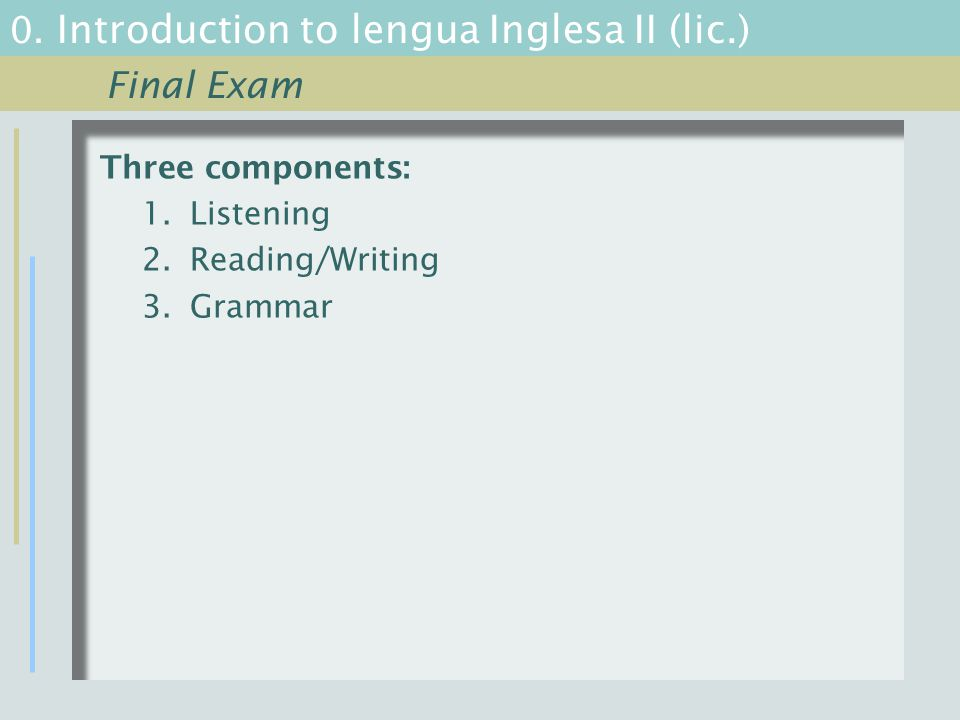 0. Introduction to lengua Inglesa II (lic.) Three components: 1.Listening 2.Reading/Writing 3.Grammar Final Exam