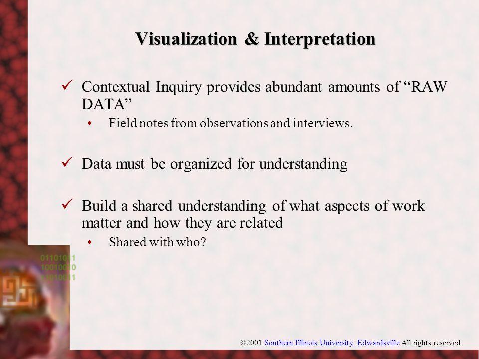 "©2001 Southern Illinois University, Edwardsville All rights reserved. Visualization & Interpretation Contextual Inquiry provides abundant amounts of """