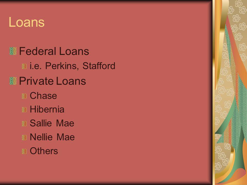 Loans Federal Loans i.e. Perkins, Stafford Private Loans Chase Hibernia Sallie Mae Nellie Mae Others