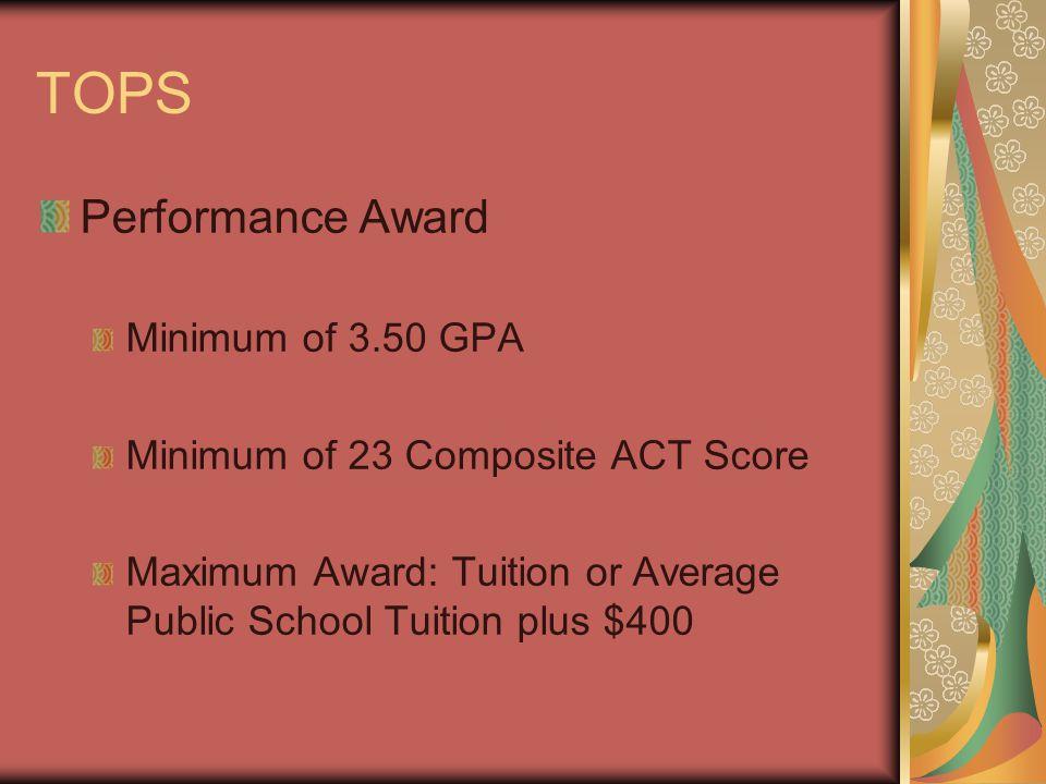 TOPS Performance Award Minimum of 3.50 GPA Minimum of 23 Composite ACT Score Maximum Award: Tuition or Average Public School Tuition plus $400