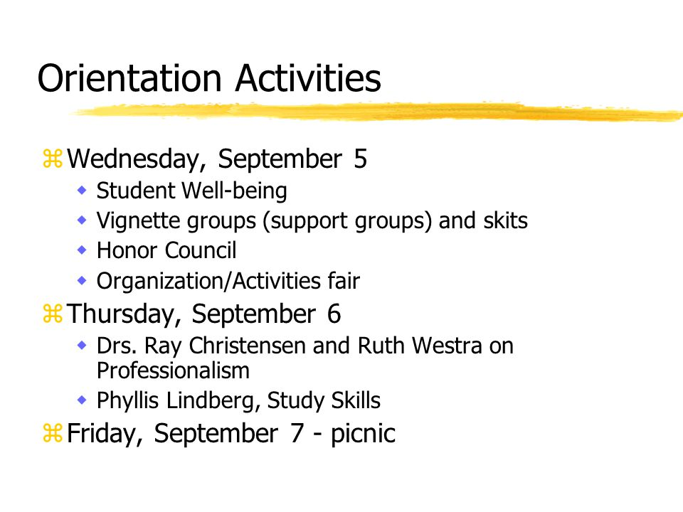 Orientation Activities zWednesday, September 5 wStudent Well-being wVignette groups (support groups) and skits wHonor Council wOrganization/Activities fair zThursday, September 6 wDrs.