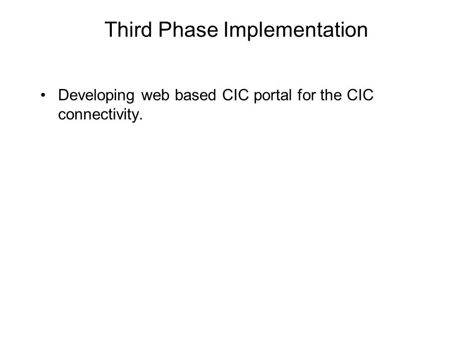 Third Phase Implementation Developing web based CIC portal for the CIC connectivity.