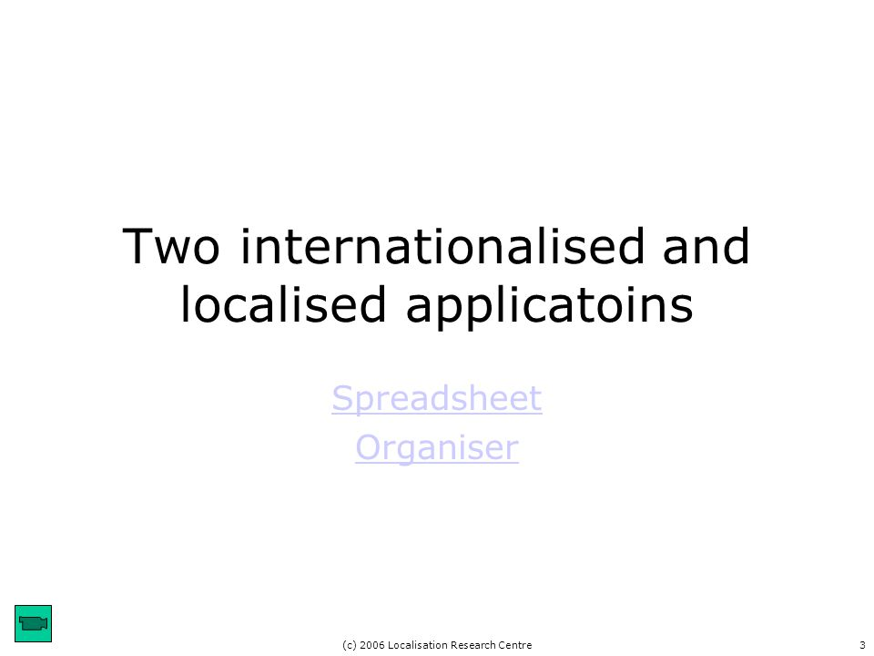 (c) 2006 Localisation Research Centre3 Two internationalised and localised applicatoins Spreadsheet Organiser