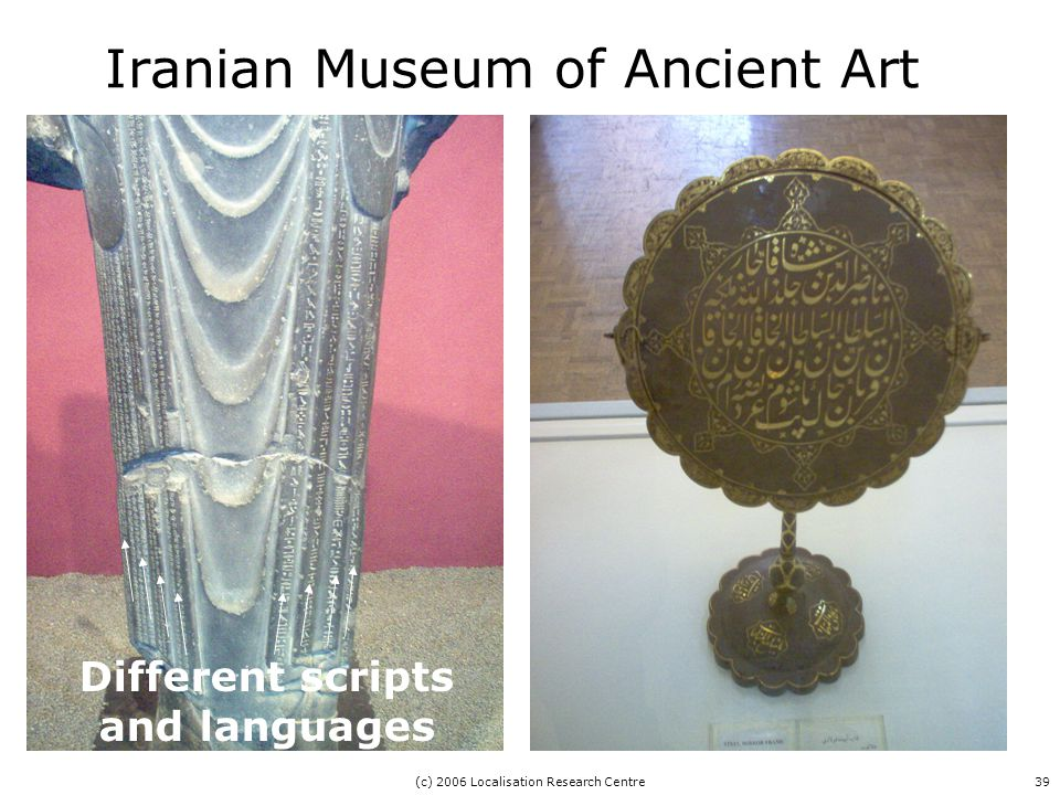 (c) 2006 Localisation Research Centre39 Iranian Museum of Ancient Art Different scripts and languages