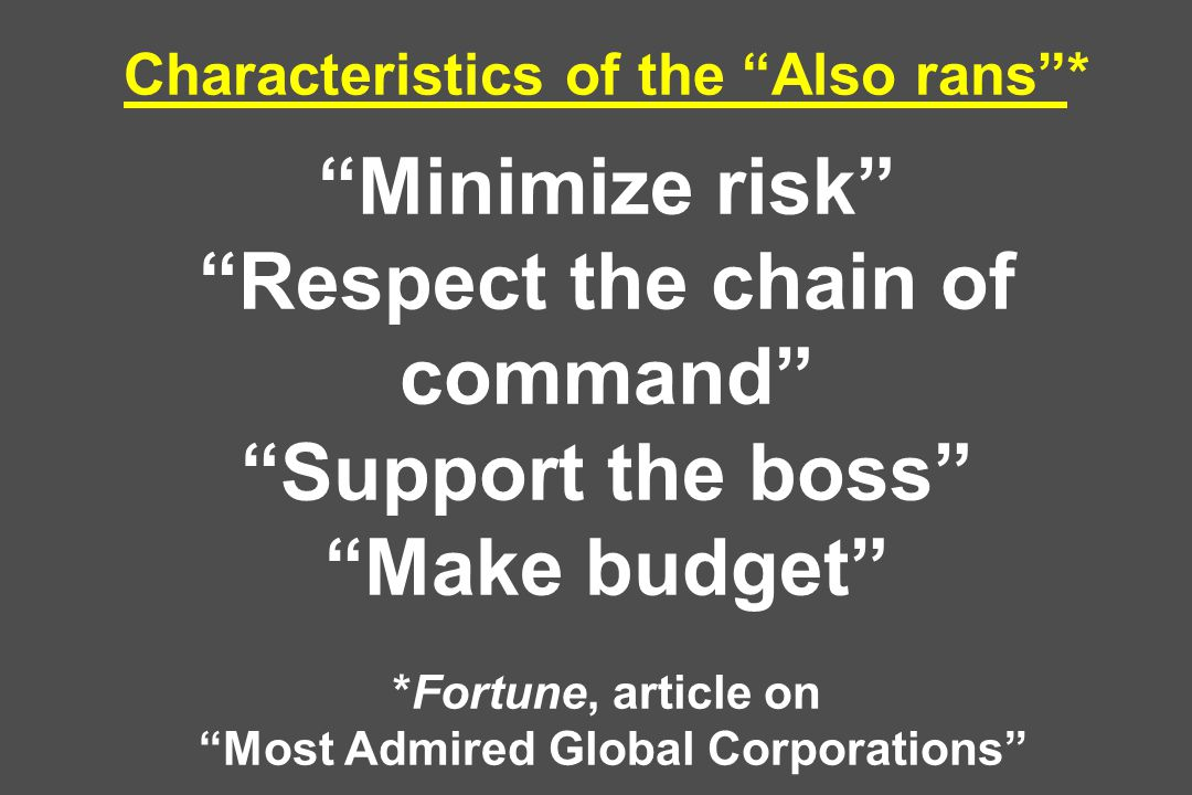 Characteristics of the Also rans * Minimize risk Respect the chain of command Support the boss Make budget *Fortune, article on Most Admired Global Corporations